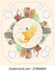 Vector illustration of watercolor. Illustration watercolor city. Decorative sketch of cartoon city. Watercolor illustration of cat hipster. Template for card with watercolor illustration.