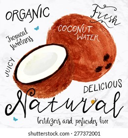 Vector illustration of watercolor coconut, hand drawn in in 1950s or 1960s style. Concept for farmers market, organic food, natural product design, soap package, coconut oil, etc.