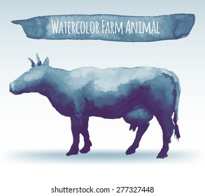 vector illustration of watercolor cow