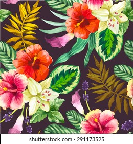 Vector illustration with watercolor flowers. Beautiful seamless background with tropical plants on black. Composition with calla lily, chinese hibiscus and leaves.