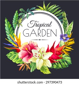 Vector illustration with watercolor flowers. Beautiful bouquet and headline with tropical plants on black background. Composition with monstera and palm leaves, white lily and hibiscus.