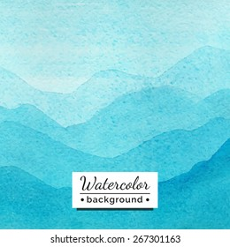 Vector illustration. Watercolor landscape with mountains. The template for the poster, cover, advertising. Blurred landscape with watercolor texture. Handmade picture for background, backdrop.