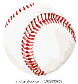 Vector illustration watercolor style of baseball white leather ball with red lace