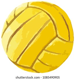 Vector illustration watercolor style painted yellow ink water polo ball