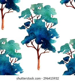 Vector Illustration of watercolour Tree Set for Design, Website, Background, Banner. Summer Paint with Brush Texture Element Template. Seamless Pattern for Textile or Wallpaper