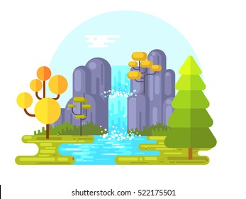 Vector illustration of waterfall