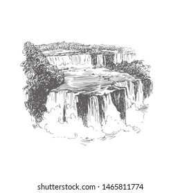 Vector illustration of waterfall in Brazil in engraving style. Iguazu falls black and white sketch. Hand drawn vintage illustration with landscape of South America.