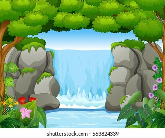 Vector illustration of Waterfall landscape background in forest