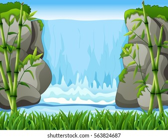 Vector illustration of Waterfall landscape background