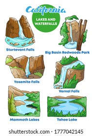Vector illustration waterfalls and lakes of California all grouped
