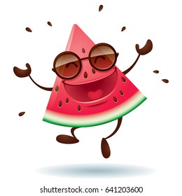 Vector illustration of watermelon character with arms open wide.