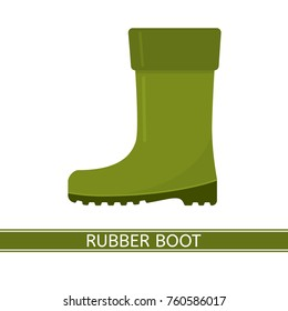 Vector illustration of waterproof rubber boot isolated on white background. Green rain boot in flat style. Gumboots for rainy weather, fishing, gardening
