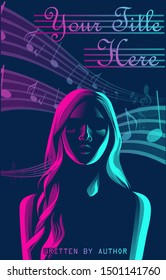 Vector Illustration Wattpad Book Cover of  Beautiful Girl's Silhouette in Neon for Teenager and Romance Story