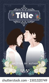 Vector Illustration Wattpad Book Cover of Romantic Couple for Teenager and Romance Story with Attractive Background