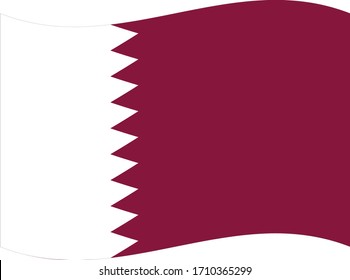 vector illustration of Wave flag of Qatar