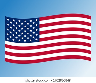 Vector illustration of waving American Flag on white background. United States Flag.