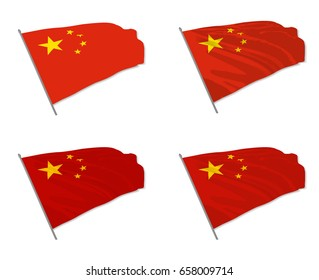 Vector illustration of waving China flag with different 3d effects