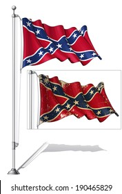 Vector Illustration of a waving Confederate Rebe  flag in a clean-cut and an aged version, fasten on a flag pole. Both versions are in-place in separate groups. Flags and pole in separate layers.