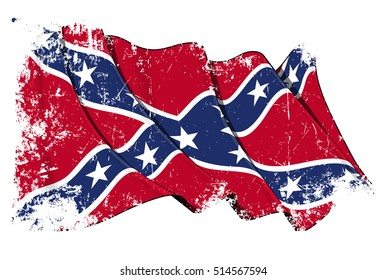 Vector Illustration of a Waving Confederate Rebel flag under a grunge texture layer. All elements neatly organized. Texture, Lines, Shading & Flag Colors on separate layers for easy editing.