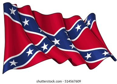 Vector Illustration of a waving Confederate Rebel flag. All elements neatly organized. Lines, Shading & Flag Colors on separate layers for easy editing.