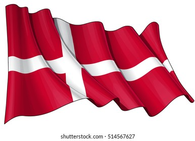 Vector Illustration of a waving Danish flag. All elements neatly organized. Lines, Shading & Flag Colors on separate layers for easy editing.