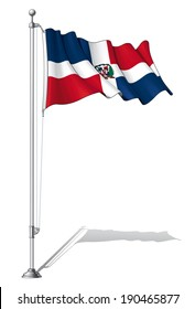 Vector Illustration of a waving Dominican flag fasten on a flag pole. Flag and pole in separate layers, line art, shading and color neatly in groups for easy editing.