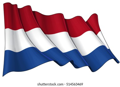 Vector Illustration of a waving Dutch flag. All elements neatly organized. Lines, Shading & Flag Colors on separate layers for easy editing.
