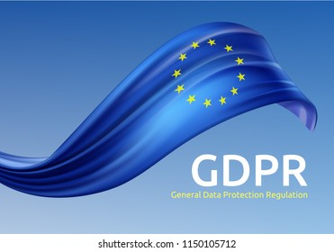 Vector illustration of waving European Union flag with GDPR, General Data Protection Regulation on blue background