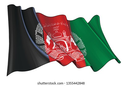 Vector illustration of a Waving Flag of Afghanistan. All elements neatly on well-defined layers and groups.