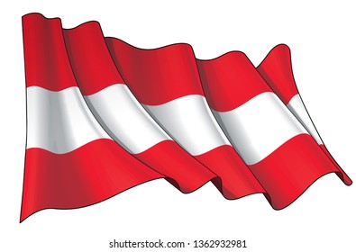 Vector illustration of a Waving Flag of Austria. All elements neatly on well-defined layers and groups.