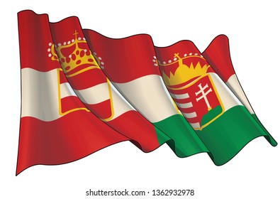 Vector illustration of a Waving Flag of Austria-Hungary. All elements neatly on well-defined layers and groups. Sepia overtone on a separate group