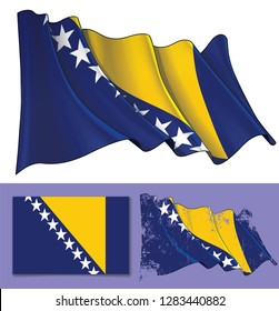 Vector illustration of a Waving Flag of  Bosnia and Herzegovina. A textured version and the Flat Flag design are included. All elements neatly on well-defined layers ang groups.