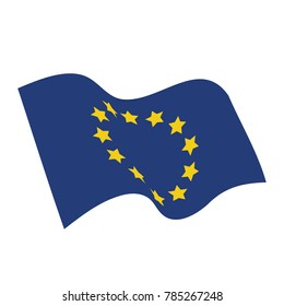 Vector illustration waving flag of European Union icon. EU flag button isolated on white background