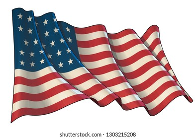 Vector illustration of a Waving Flag of USA during the American Civil War. All elements neatly layers and groups. Sepia overtone on a separate group