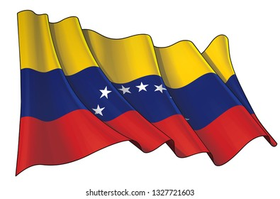 Vector illustration of a Waving Flag of Venezuela. All elements neatly on well-defined layers and groups.