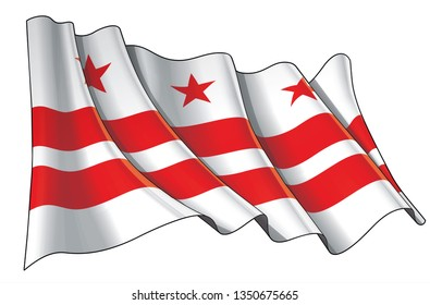 Vector illustration of a Waving Flag of Washington DC. All elements neatly on well-defined layers and groups.