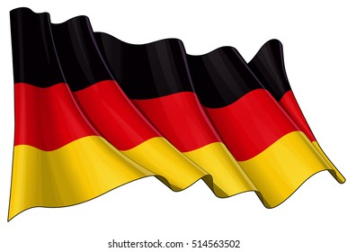 Vector Illustration of a waving German flag. All elements neatly organized. Lines, Shading & Flag Colors on separate layers for easy editing.