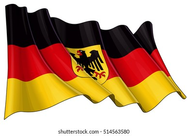Vector Illustration of a waving German State flag (with the eagle ensign). All elements neatly organized. Lines, Shading & Flag Colors on separate layers for easy editing.