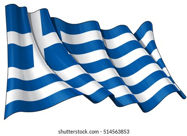 Vector Illustration of a waving Greek flag against white background. All elements neatly organized. Lines, Shading & Flag Colors on separate layers for easy editing.