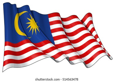 Vector Illustration of a waving Malaysian Flag. All elements neatly organized. Lines, Shading & Flag Colors on separate layers for easy editing.