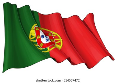 Vector Illustration of a waving Portuguese Flag. All elements neatly organized. Lines, Shading & Flag Colors on separate layers for easy editing.