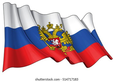 Vector Illustration of a waving Russian State Flag(with the eagle ensign). All elements neatly organized. Lines, Shading & Flag Colors on separate layers for easy editing.