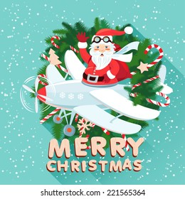 Vector illustration Waving Santa Claus on the plane inside the Christmas wreath with sack full of presents. Flat style