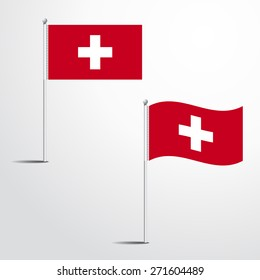Vector Illustration of a waving Switzerland Flag fasten on a flag pole. flag blowing in a breeze. Vector illustration template design