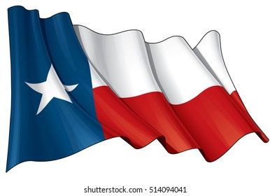 Vector Illustration of a waving Texan flag. All elements neatly on layers & groups for easy editing and variations.