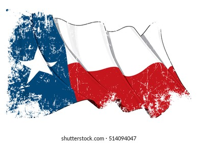 Vector Illustration of a waving Texan flag under a grunge texture. All elements neatly on layers & groups for easy editing and variations.