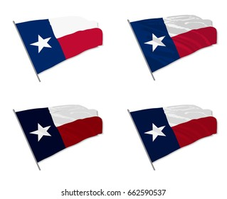 Vector illustration of waving Texas state of USA flag with different 3d effects