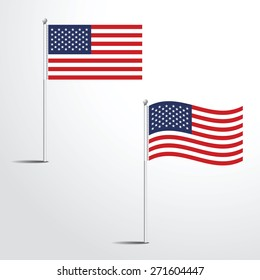 Vector Illustration of a waving united state of america USA Flag fasten on a flag pole. flag blowing in a breeze. Vector illustration template design
