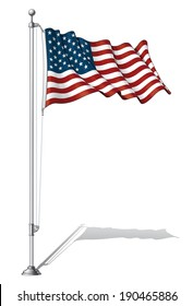 Vector Illustration of a waving US flag fasten on a flag pole. Flag and pole in separate layers, line art, shading and color neatly in groups for easy editing.