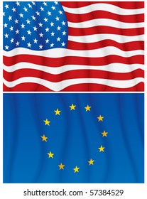 Vector Illustration of waving USA and EU flags-No meshes used